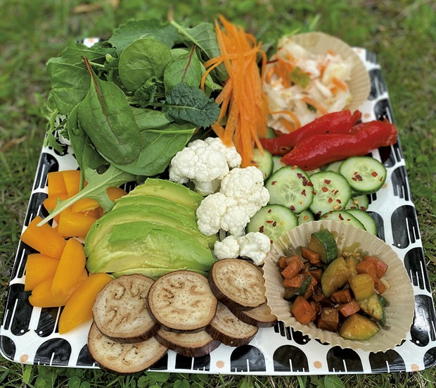 Plate filled with veggies - TRISH VAN VLIET