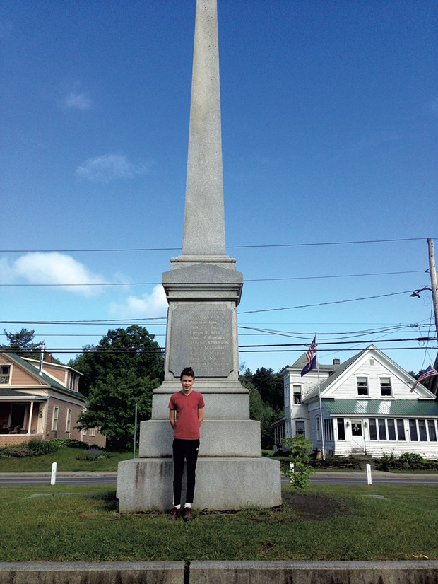 Alan Moody in front of a monument honoring soldiers from Cabot who died in the Civil War