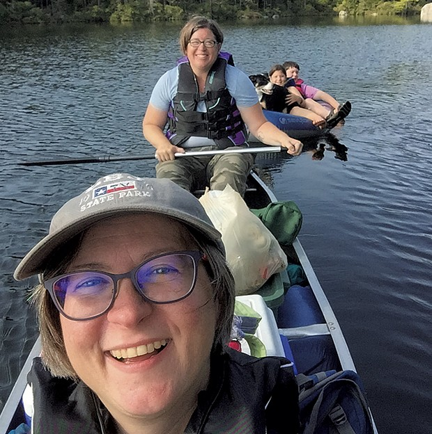 Cathy, Ann-Elise, Ginger, Ivy and Graham at Kettle Pond in 2018 - CATHY RESMER