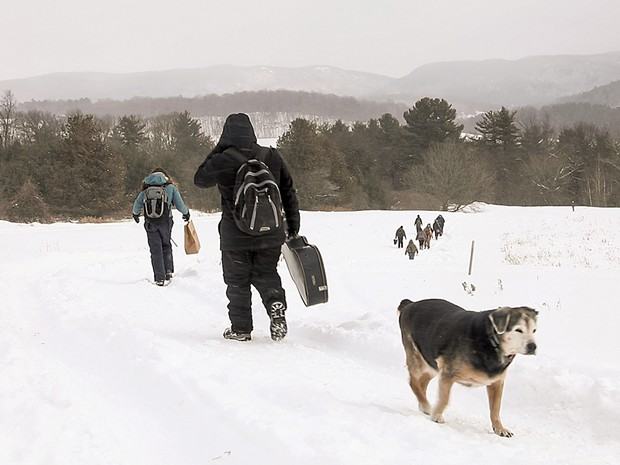 Students hiking down to base camp with Schlein's dog, Puck - CAT CUTILLO