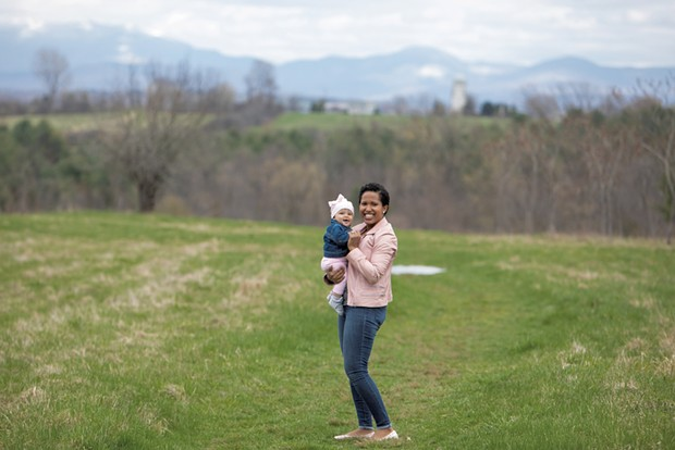 Eliana Castro with her 8-month-old baby, Adelaide Galloway, at Wheeler Nature Park in South Burlington - CAT CUTILLO