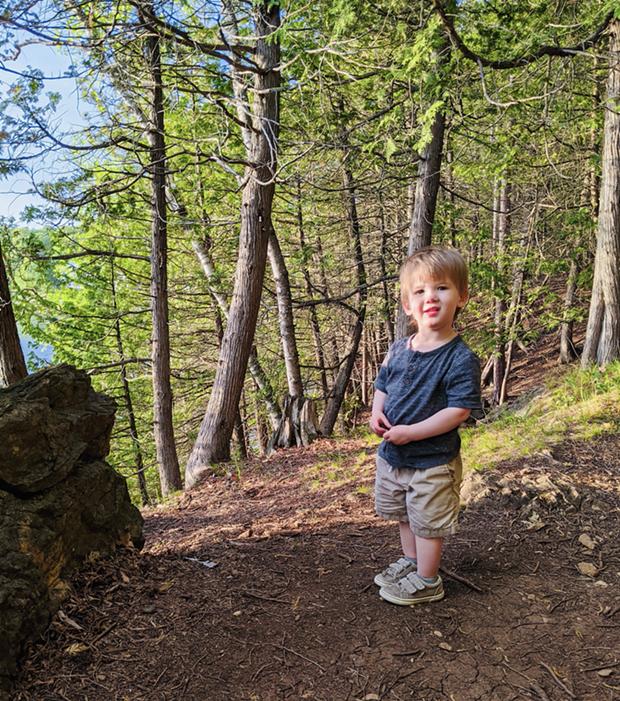 Julie Garwood's toddler, Porter, visiting the trails at Rock Point. - JULIE GARWOOD