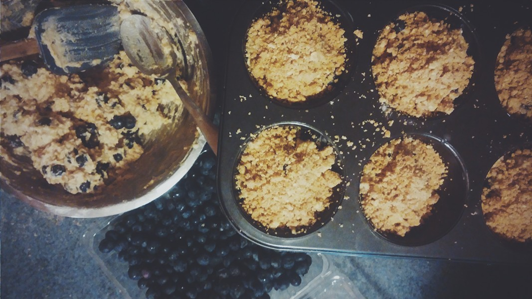 Muffins being assembled - ERINN SIMON