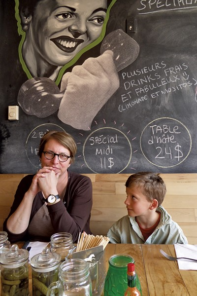 Judith Markey wth son, Liam, at F+F Pizza - SEAN MARKEY