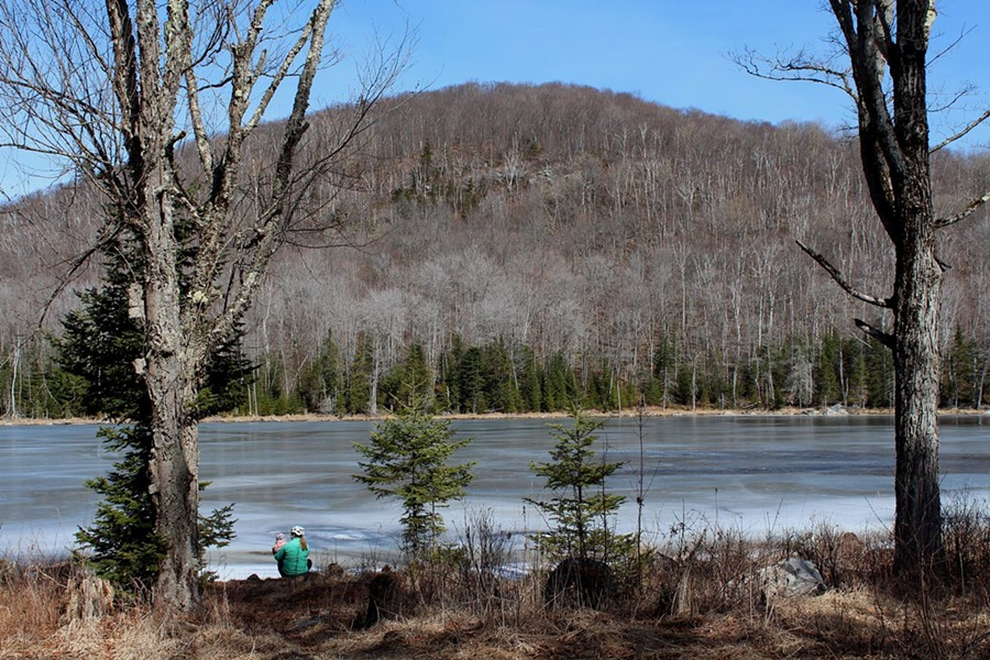 Sarah and Elise take in the view at the edge of Bailey Pond in Marshfield - TRISTAN VON DUNTZ