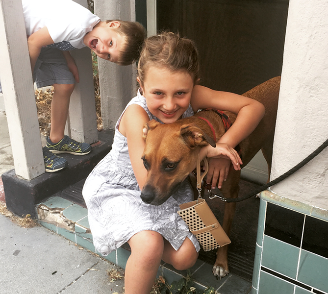 The Novak kids with their doggie cousin, Beeker