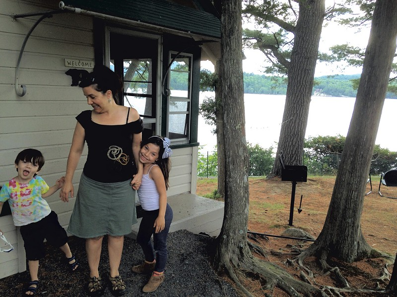Stacy with Ezra and Manya at their cabin
