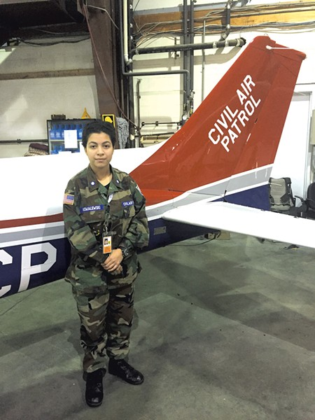 Imani at the Civil Air Patrol Vermont Wing headquarters in South Burlington - ALISON NOVAK