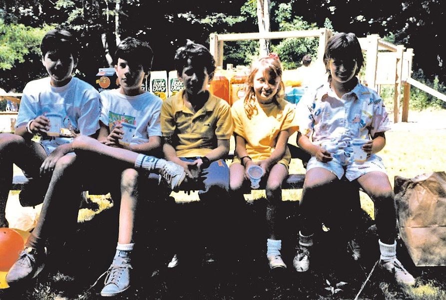 The author (right) with her elementary-school boyfriend Jeff (second from left)
