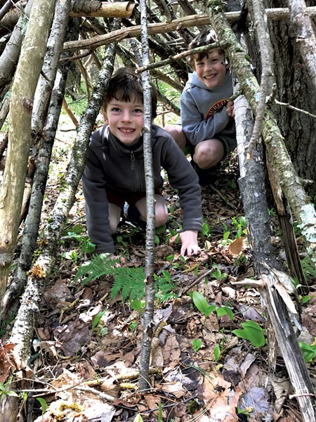 Felix and Leo explore a tree-branch structure - COURTESY OF BENJAMIN ROESCH