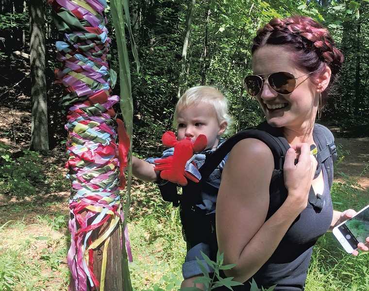 Kristen and Virginia explore the maypole - COURTESY OF KRISTEN RAVIN