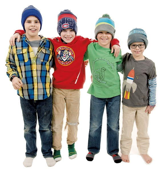 (From left) Desmond, 9, Colchester; Anderson, 9, Maxwell, 7, and Reeves, 5, Hinesburg - SAM SIMON