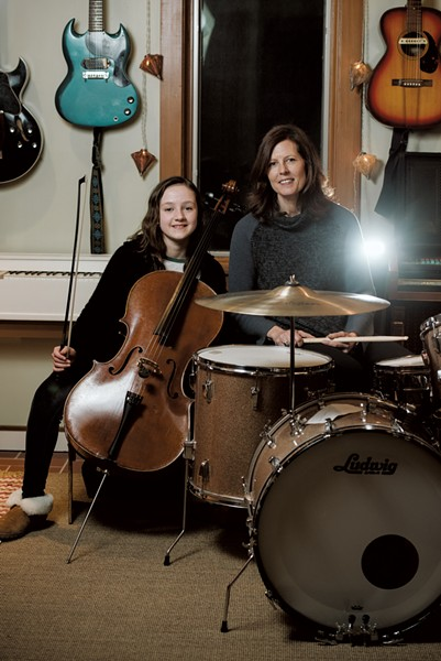 Ann Mindell plays drums in the Nancy Druids, the band she formed with her husband, Sean Toohey. Their daughter, Ariel, is an accomplished cellist who plays with Vermont Youth Strings, part of the Vermont Youth Orchestra Association. - SAM SIMON