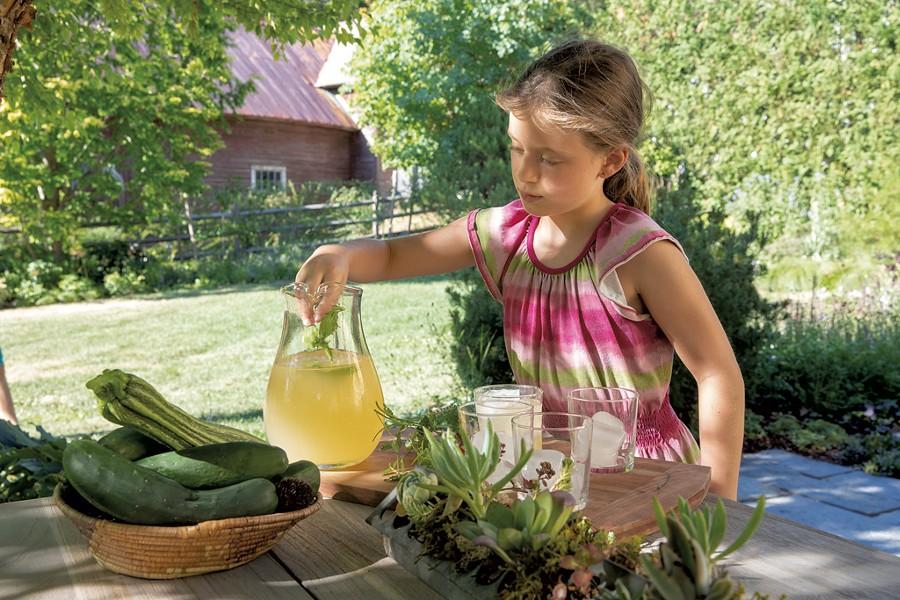 Mavis adds mint sprigs to lemonade - JAMES BUCK
