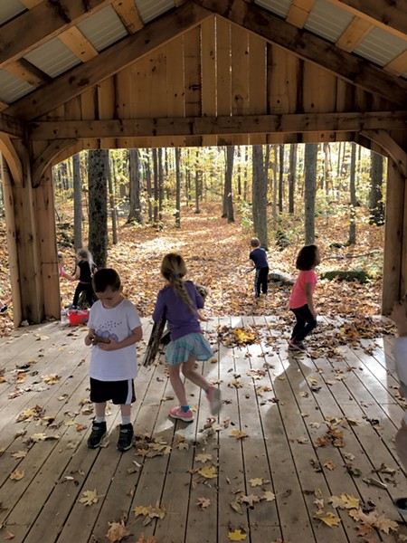 Orwell Village School kindergarteners in the school's outdoor classroom