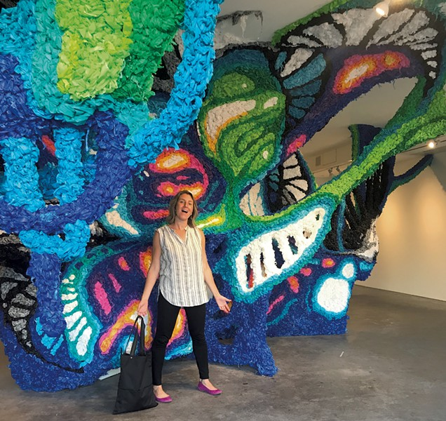 Alison checks out Crystal Wagner's innovative installation at Burlington City Arts - COURTESY OF ALISON NOVAK
