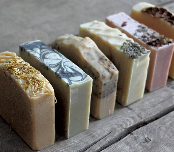 Homemade soaps decorated with dried flowers - COURTESY OF BEES ON BROADWAY