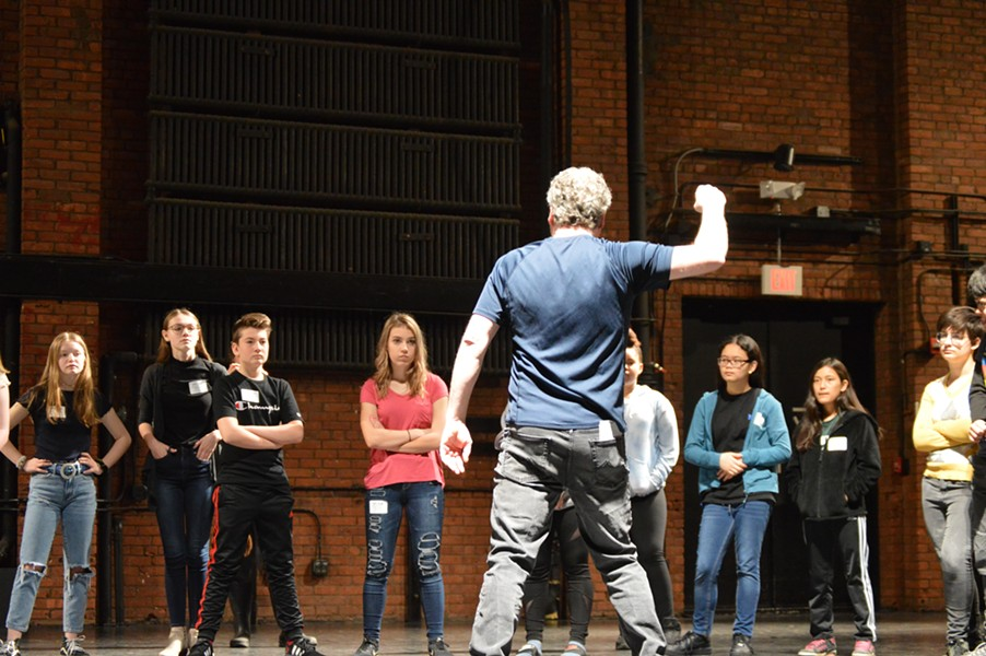 """Actor and director Patrick Clow teaching """"Stage Combat"""" - COURTESY OF VERMONT YOUNG PLAYWRIGHTS"""