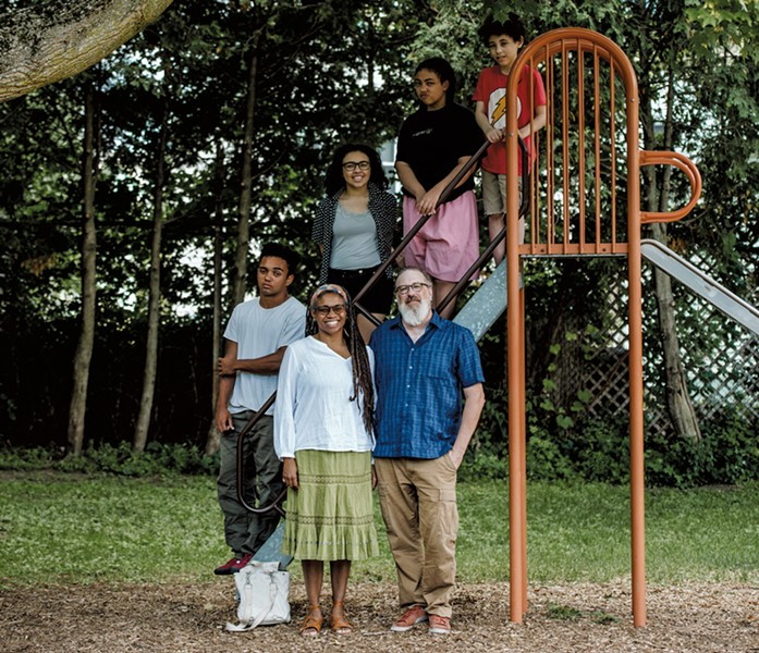 Winnie, 48, and Ted, 53, with kids (from bottom to top) Russell, 19, Charlotte, 21, Josephine, 13 and Desi, 11, at Roosevelt Park in Burlington - SAM SIMON