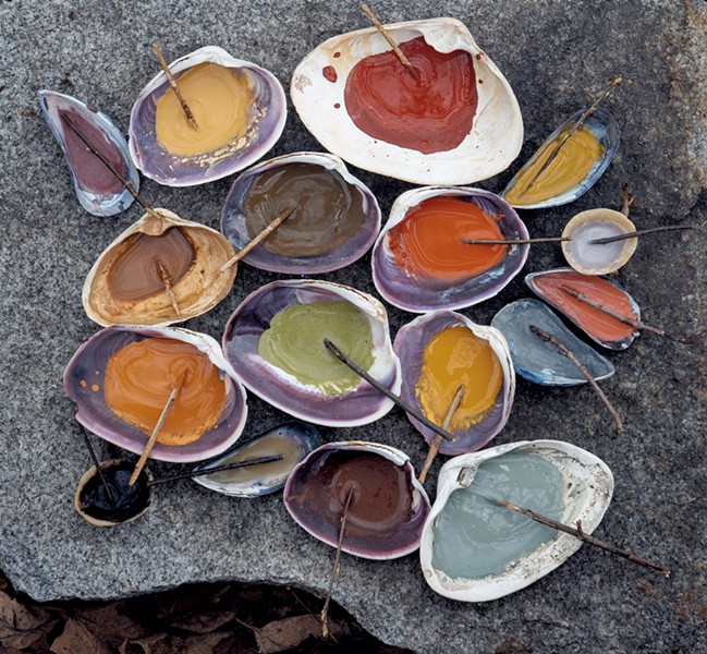 Paints made from natural ingredients with stick brushes - SUSAN TEARE, COURTESY OF QUARTO