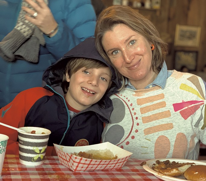 Alison and son Theo at Palmer's Sugarhouse last maple season