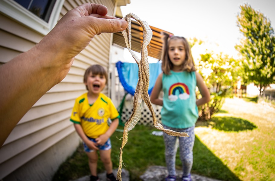 3-year-old Bo and 7-year-old Remy check out a snakeskin - CAT CUTILLO