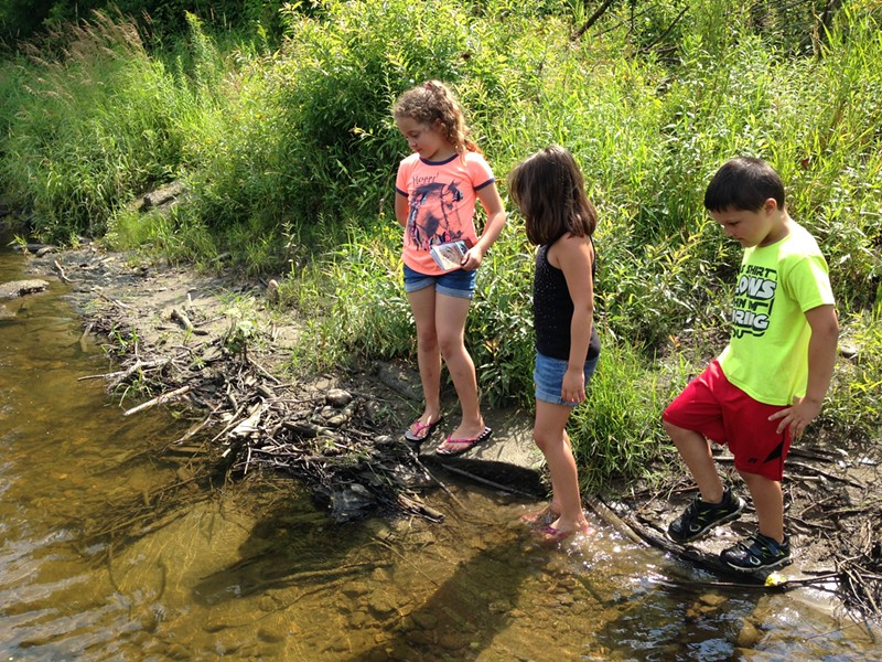 Chloe Decker, Tylee Shover and Taygon Shover check out a possible muskrat lodge at the edge of the Missisquoi River - COURTESY OF JEANNIE BARTLETT
