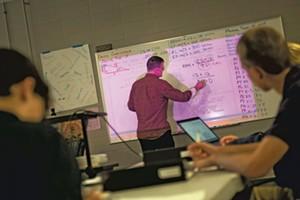 STEM Academy teacher Chris Gray in Stafford's STEM lab
