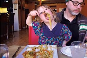 Mila enjoying chow mein