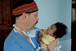 Dr. Donald Laub with an overseas patient