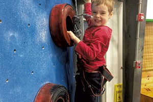 Luke tackles the tire wall