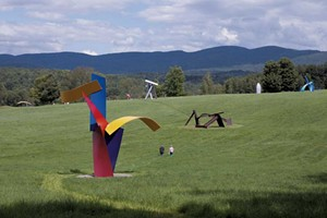 """Jitterbug"" (foreground) by David Stromeyer at Cold Hollow Sculpture Park in Enosburg"