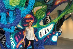 Alison checks out Crystal Wagner's innovative installation at Burlington City Arts