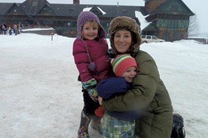 Alison, Mira and Theo at Shelburne Farms in 2011