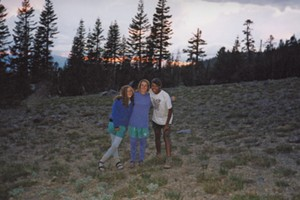 Alison (center) in her long underwear, Umbros and Tevas, with best friend, Lexy (left), and new friend, Carla, on the California Adventure, July 1991