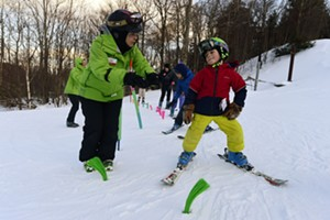 A ski lesson at Mad River Glen in Waitsfield
