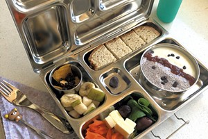 A low-waste lunch packed in a stainless steel PlanetBox