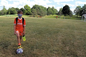 Zac returned to soccer team practice this summer