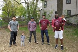 Keegan Albaugh (second from right) with other Dad Guild members
