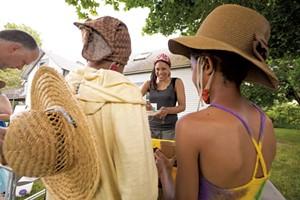 Kia'Rae Hanron with Ava Mirembé and Esmé Ssanyu Grundy Bruce at the Clemmons Family Farm Juneteenth celebration