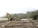 A 50-foot-wide area of Shelby Farms Park was cleared for pedestrian bridge construction.