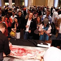 Pig Prize A butchering demo draws a crowd of chefs and civilians alike. Justin Fox Burks