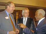 JB - A C Wharton (right), chatting up state Senate Democratic leader Jim Kyle and blue-chip developer Ron Belz at his Wednesday night fundraiser