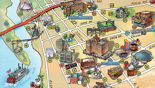 A detail from A Memphis Map for Elvis Fans