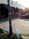 A ghost bike at the Hi-Tone honors Chris Davidson.