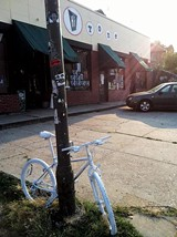 ANDREW CALDWELL - A ghost bike at the Hi-Tone honors Chris Davidson.