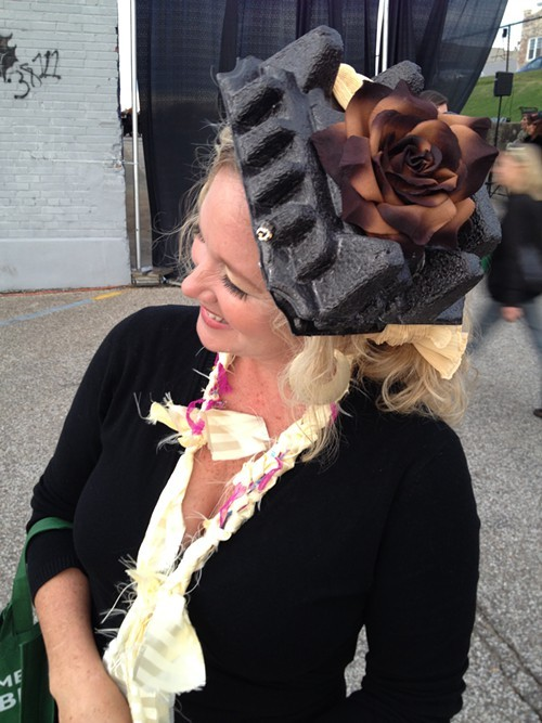 A hat made of packaging materials.