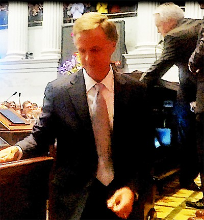 A pensive Governor Haslam leaves the dock after his SOTS address.