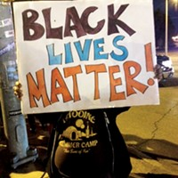 A protester at the Ferguson solidarity demonstration in Memphis last week