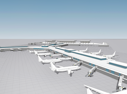 A rendering of the airport after parts of concourse A and C are torn down and concourse B is expanded.